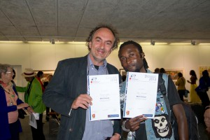 Vilho Nuumbala and me receive the Bank Windhoek Triennial Photography Award on September 5, 2014. (C) Tony Figueira